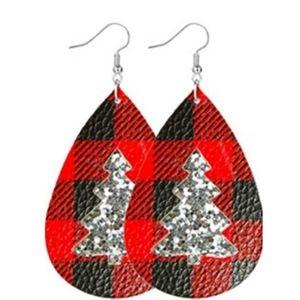 Jewelry - 🆕Silver Glitter Buffalo Plaid Christmas Earrings